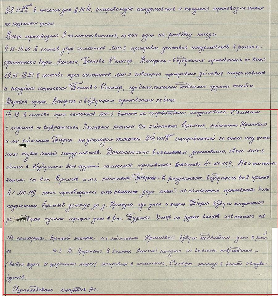 Боевые донесения полка Петрп Еремеева